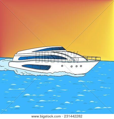 Yacht Pop Art Style Vector Illustration. Comic Book Style Imitation