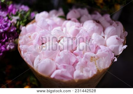 Macrophotography Of Top View Of Extremely Tender Pink Peonies Wrapped In A Craft Paper Arranged In A