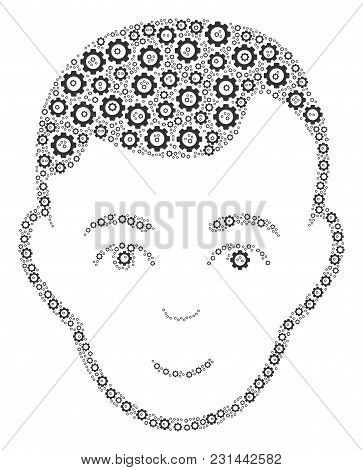 Face Mosaic Of Gearwheels. Vector Gearwheel Symbols Are Composed Into Face Figure.