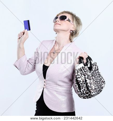 Fashion Woman With Bag And Credit Card .isolated On White Background