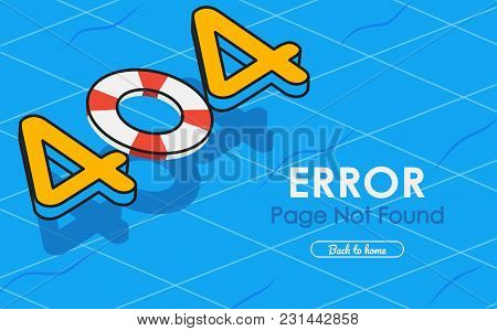 404 Error Page Not Found Vector In Swimming Pool Graphic