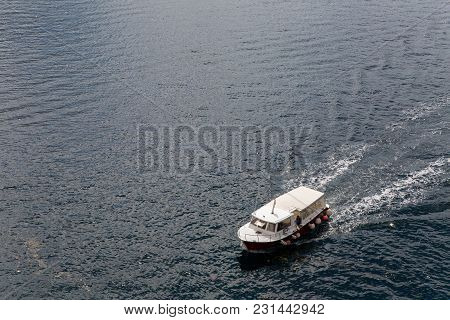 Perast, Montenegro - September 12: Quick Red White Boat Floating In The Bay With Tourists In The Eur