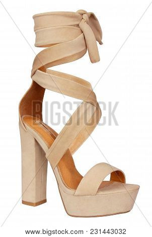 Hottest Beige Color Tie Up Styles High Heel With Vegan Leather. This Single Sole Heel   Has Toe Stra