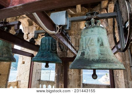 Old Bells In The Church St. Nicholas Church In Perast, Montenegro