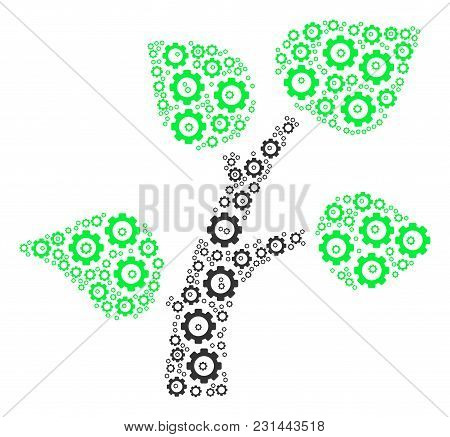 Flora Plant Composition Of Cog Wheels. Vector Mechanical Wheel Objects Are Composed Into Flora Plant