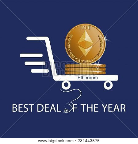 Golden Ephyrium Coin. Best Deal Of The Year. Symbol Of A Physical Coin. Digital Sign Of Crypto Curre