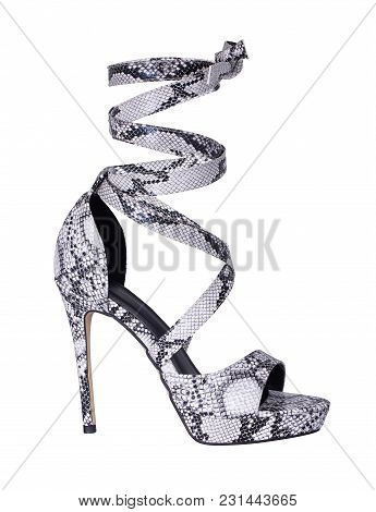 Beautiful And Pretty Women Black And White Printed Lace Up High Heel That Perfect Finishing Touch To