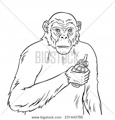 Monkey With Grenade Bomb In Hand Coloring Vector Illustration. Text Bubble. Isolated Image On White