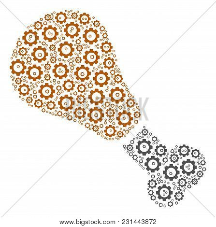 Fried Chicken Leg Mosaic Of Cogs. Vector Gear Wheel Symbols Are Combined Into Fried Chicken Leg Illu