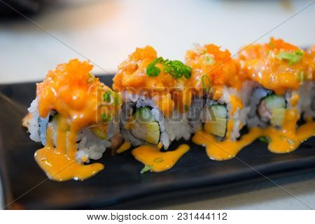 Salmon Roll With Spicy Sauce - Traditional Japanese Food