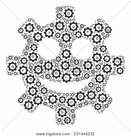 Gear Smile Smiley Composition Of Mechanical Wheels. Vector Mechanical Wheel Items Are United Into Ge