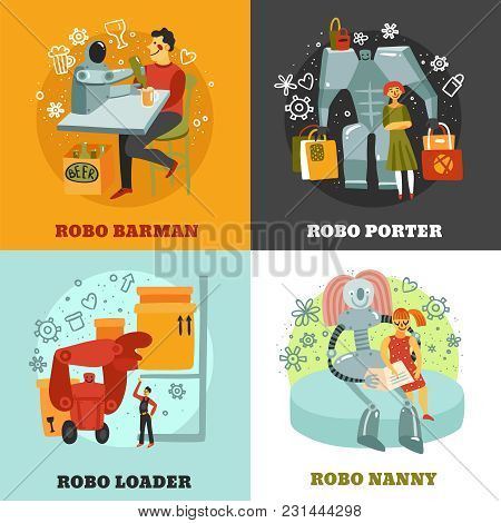 Robots With Duties Of Barman, Porter, Loader And Nanny, Hand Drawn Design Concept Isolated Vector Il