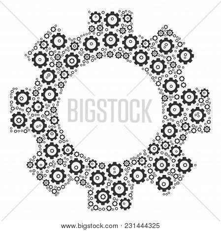 Gear Mosaic Of Tooth Gears. Vector Gear Icons Are United Into Gear Collage.