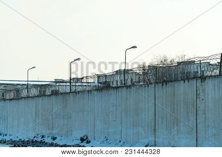 Fence With Barbed Wire, Place Of Detention, Prison