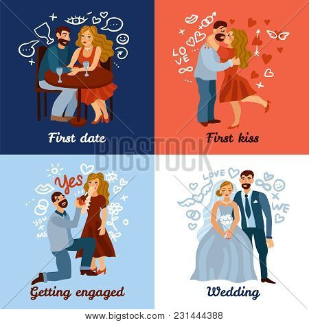 Developing Love Relations Design Concept With Romantic Date, First Kiss, Engagement And Wedding Isol
