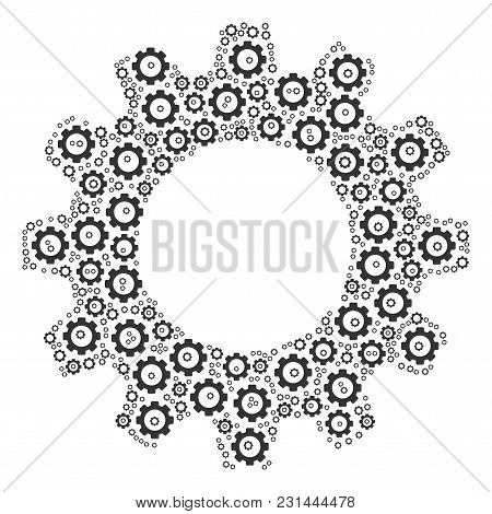 Gear Composition Of Cog Wheels. Vector Cog Wheel Parts Are United Into Gear Composition.