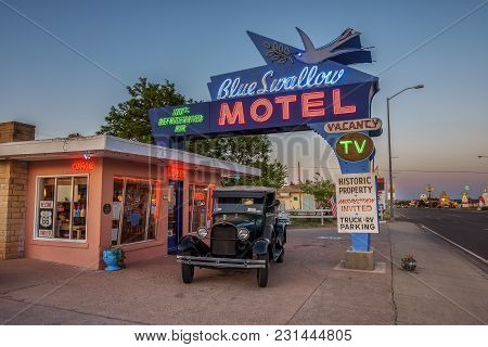Tucumcari, New Mexico, Usa - May 13, 2016 : Historic Blue Swallow Motel At Sunset This Building Is L