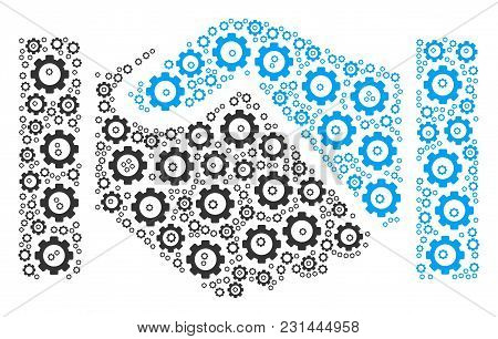 Handshake Mosaic Of Gear Components. Vector Gearwheel Parts Are United Into Handshake Collage.