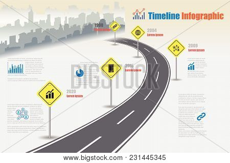 Business Road Map Timeline Infographic City Designed For Abstract Background Template Milestone Elem
