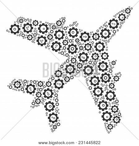 Jet Plane Collage Of Cogwheels. Vector Cog Wheel Elements Are Grouped Into Jet Plane Illustration.