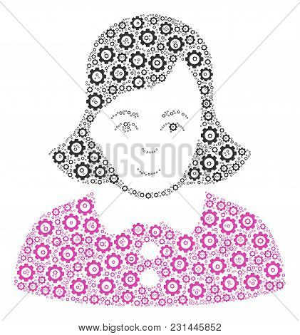 Lady Mosaic Of Cogwheels. Vector Gear Parts Are Combined Into Lady Illustration.