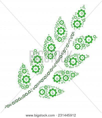 Leaf Branch Mosaic Of Cog Wheels. Vector Gearwheel Items Are Organized Into Leaf Branch Illustration
