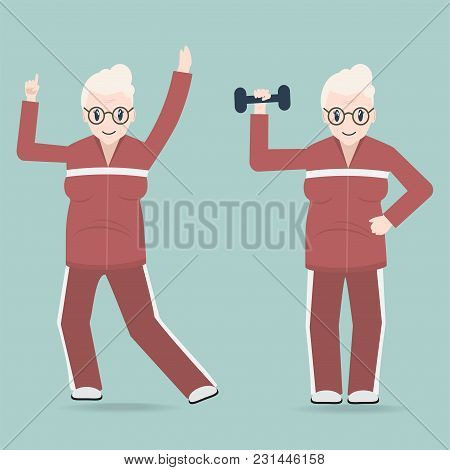 Elderly Woman Couple Exercise Icon, Health Care For Elderly Concept