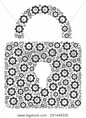 Lock Mosaic Of Gear Icons. Vector Gear Items Are Organized Into Lock Figure.