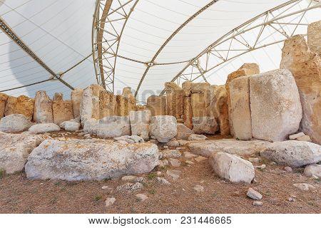 Mnajdra Temple Within Hagar Qim Megalithic Complex. Qrendi, Malta. Unesco World Heritage Site.