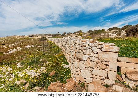 Mnajdra Temple Within Hagar Qim Megalithic Complex. Ancient Walls Near Qrendi, Malta. Unesco World H