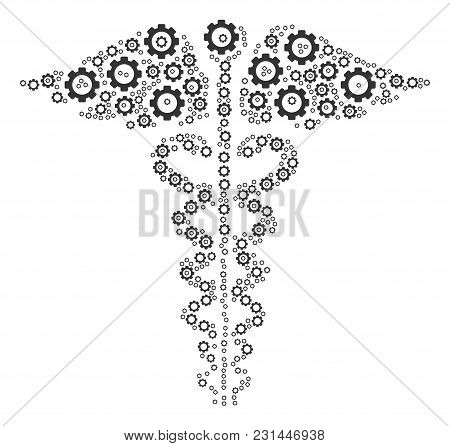 Medical Caduceus Emblem Composition Of Cog Wheels. Vector Tooth Gear Components Are United Into Medi