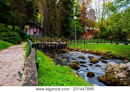 Smal House Next To The River Bosna At Beautiful Park Vrelo Bosne