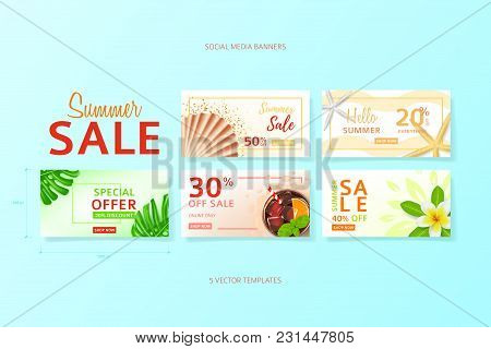 Collection Of Social Media Banners For Summer Sale. Vector Illustration With Realistic Tropical Summ
