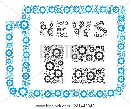 Newspaper Composition Of Tooth Gears. Vector Tooth Gear Symbols Are United Into Newspaper Mosaic.