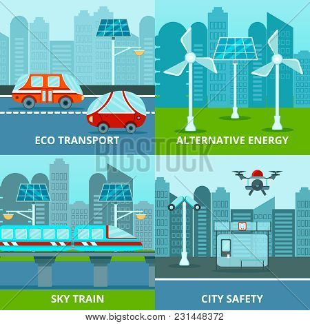 Smart City 2x2 Design Concept With Flat Images Of Alternative Energy Sources And Electric Transport