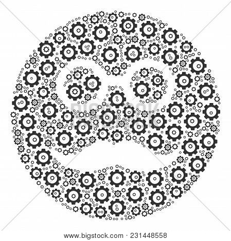 Pension Smiley Collage Of Cogs. Vector Mechanical Wheel Components Are United Into Pension Smiley Fi