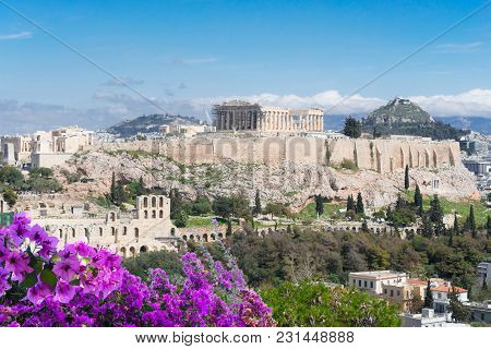 Famous Skyline Of Athens With Acropolis Hill, Pathenon, Herodes Atticus Amphitheater And Lycabettus