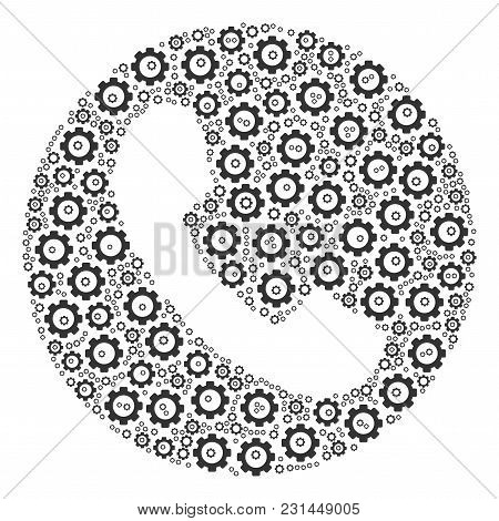 Phone Number Mosaic Of Gearwheels. Vector Cogwheel Elements Are Grouped Into Phone Number Illustrati
