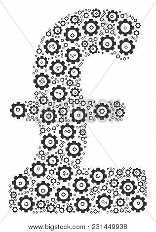 Pound Sterling Composition Of Cogwheels. Vector Mechanical Wheel Objects Are Organized Into Pound St