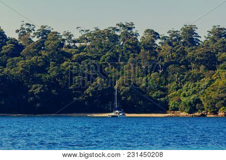 Sydney, Australia - July 11th, 2013: Exotic-looking Bay Just Outside Of Sydney Harbour
