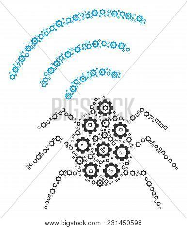 Radio Bug Mosaic Of Gears. Vector Gear Wheel Elements Are Organized Into Radio Bug Illustration.