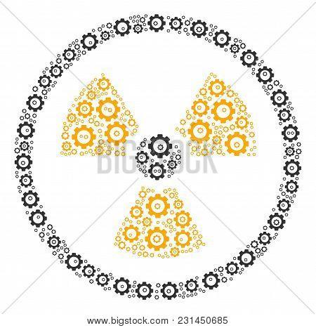 Radioactive Mosaic Of Gears. Vector Cog Wheel Parts Are United Into Radioactive Shape.