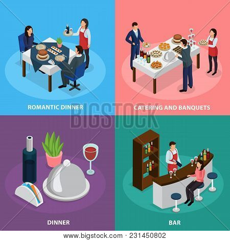 Catering Service Concept 4 Isometric Icons Square With Banquet Buffet Bar Engagement Romantic Dinner