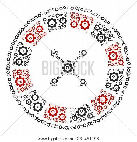 Roulette Composition Of Gear Components. Vector Gear Wheel Objects Are Grouped Into Roulette Illustr