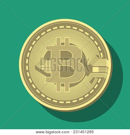 Coin Of Crypto Currency Bitcoin, Drawn In Vector