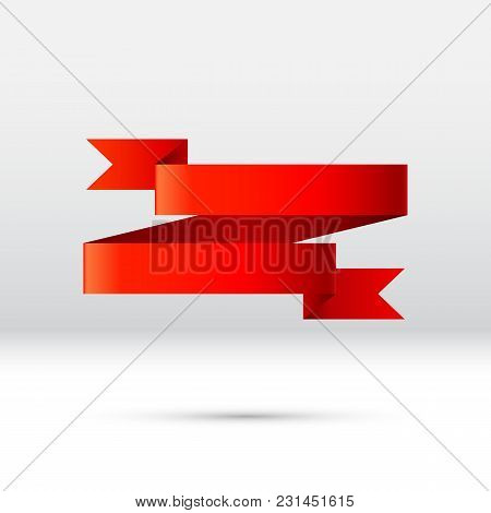 Curled Red Ribbon, Banner Or Gift Tape For Holiday Celebration Or Commercial Discount And Sale Event