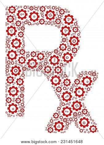 Rx Symbol Mosaic Of Gear Elements. Vector Mechanical Wheel Parts Are Grouped Into Rx Symbol Illustra