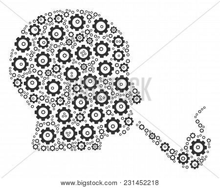 Smoking Detective Composition Of Cogwheels. Vector Gear Items Are Grouped Into Smoking Detective Fig