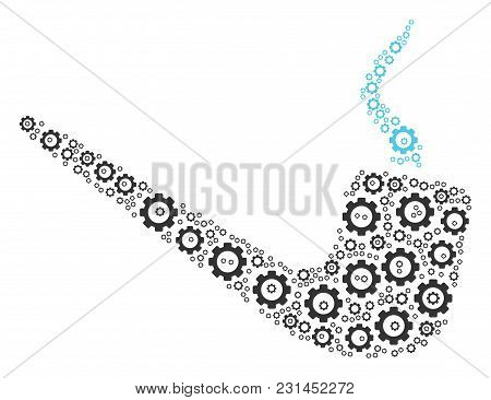 Smoking Pipe Mosaic Of Tooth Gears. Vector Gear Items Are Grouped Into Smoking Pipe Shape.