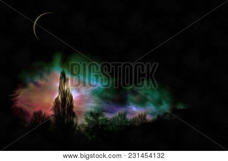 Expressionism painting. Forest in the moon light. 3D rendering